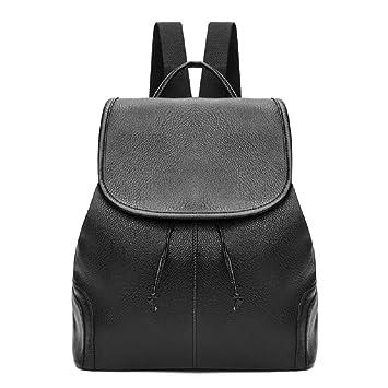 Heeecgoods Mochila multipropósito multipropósito escuela de viaje antirrobo para salir mochilas de mujer negro cuero de la PU (Color : Negro): Amazon.es: ...