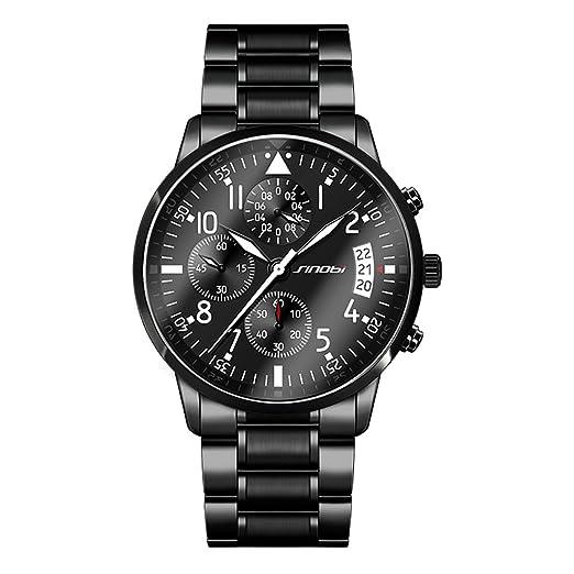 Sinobi 11s9639 Piloto relojes de moda para hombre correa de acero inoxidable de cuarzo relojes para viajar: Amazon.es: Relojes