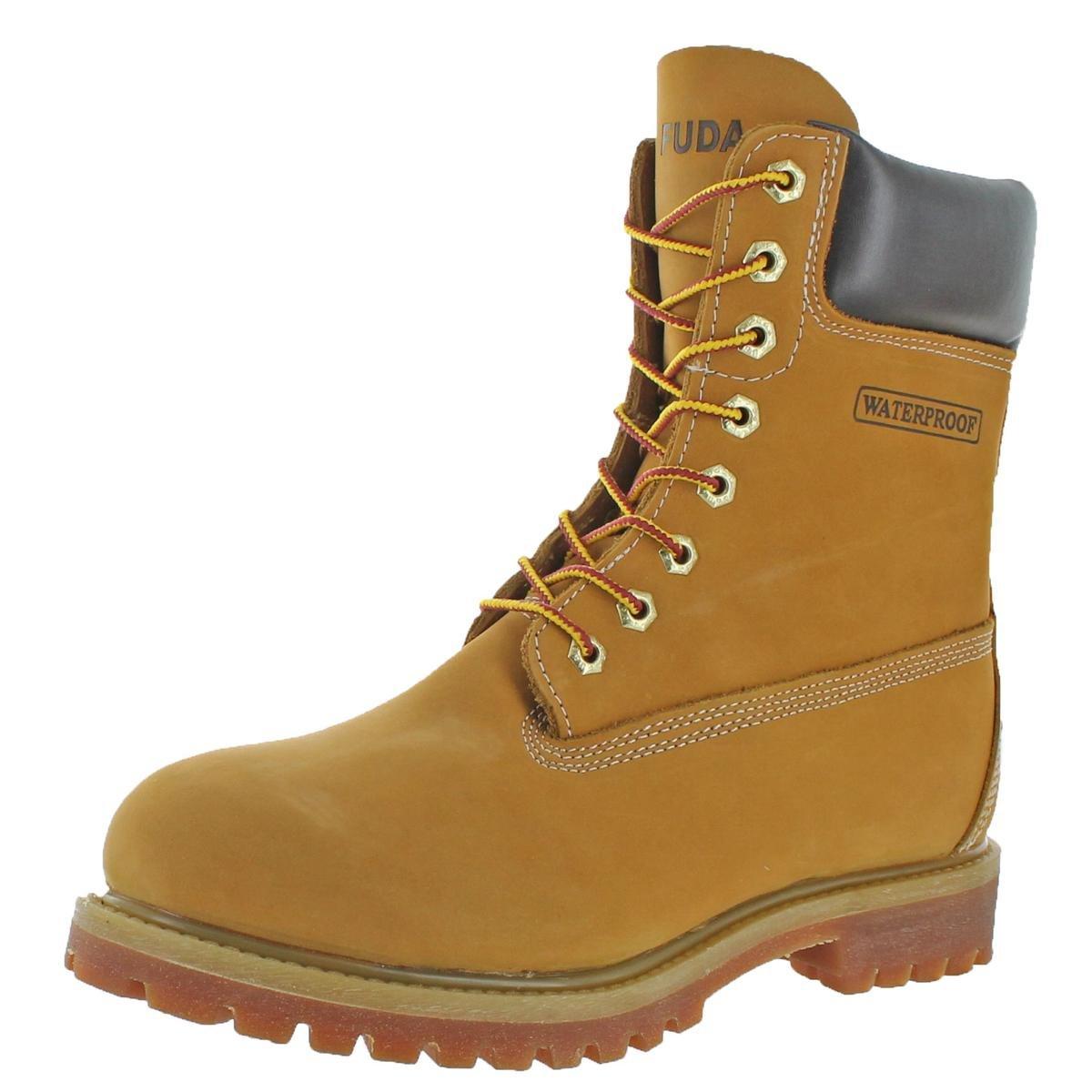 Men's 8'' Waterproof Nubuck Leather Gum Sole Work Boots Shoes Wheat Size 10