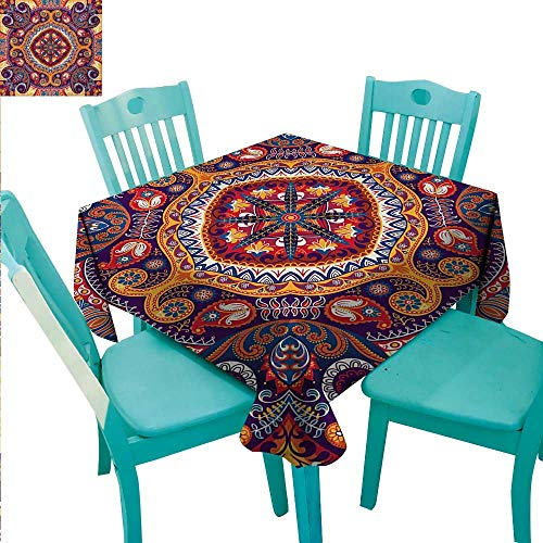 - Paisley Decorative Textured Fabric Tablecloth Arabic Style Ornamental Rug Pattern Inspired Design with Flowers and Leaves Waterproof/Oil-Proof/Spill-Proof Tabletop Protector 54