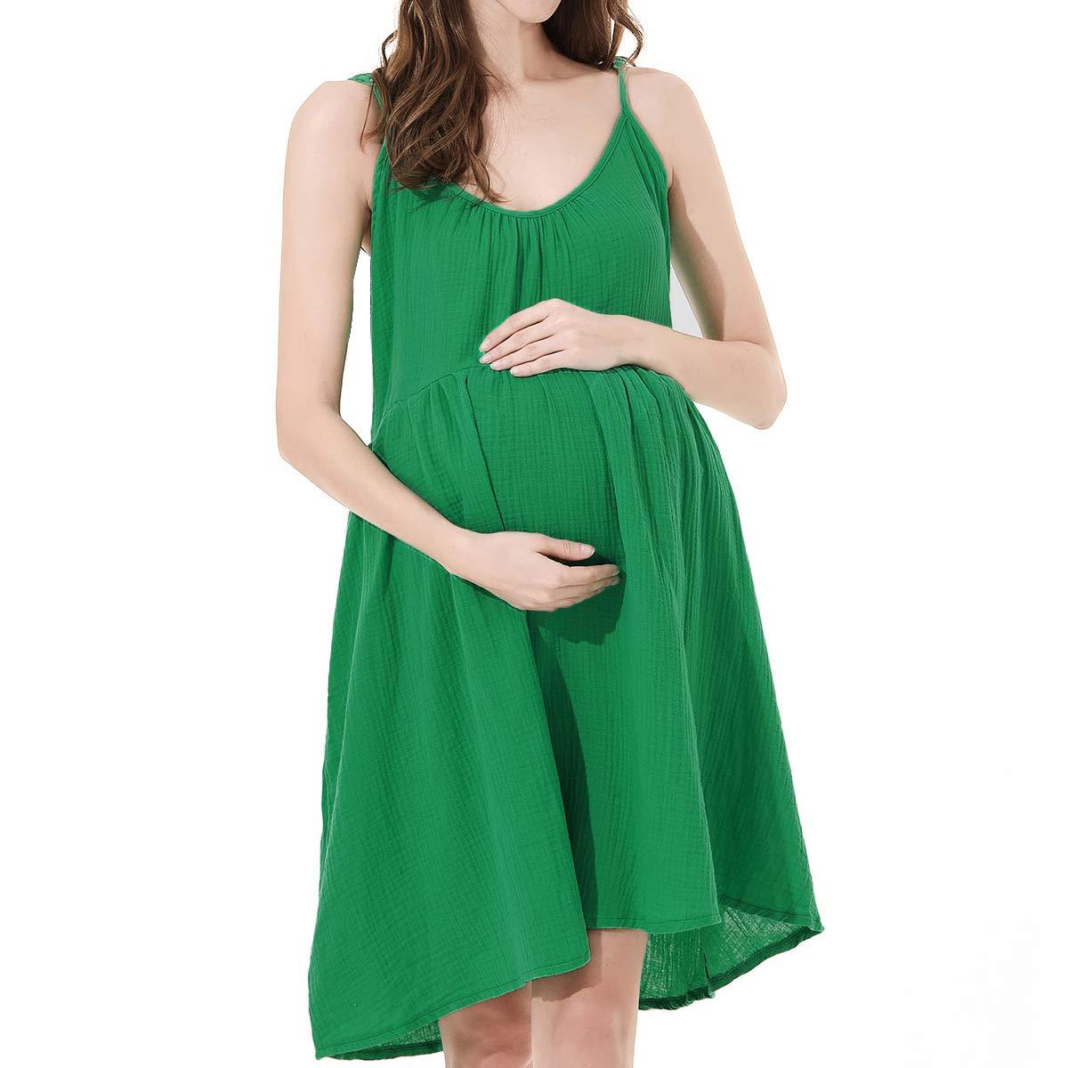 Avv Cute Dress, Women's Summer Sleeveless Nursing Dresses Flared Swing Maternity Breastfeeding Dress (Large, Green) by Avv (Image #1)