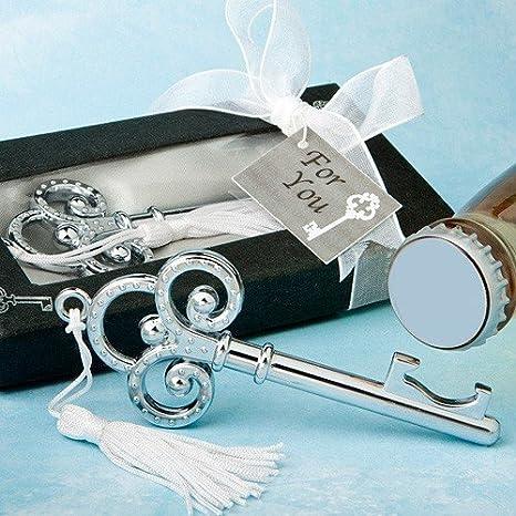 Chiavi argentate, apribottiglie, in scatola regalo, ideali come ricordo del matrimonio, set di 30 unità