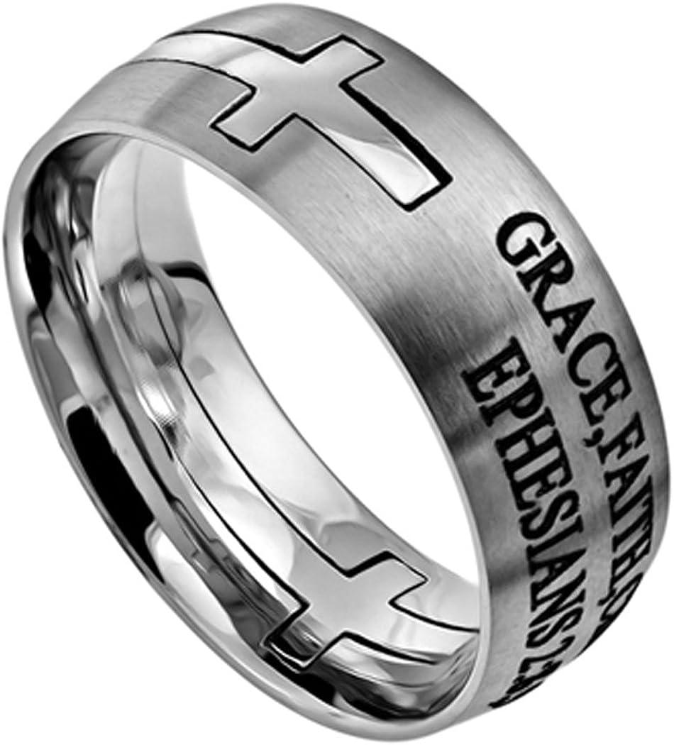 Amazon Com Christian Rings K36 Ephesians 2 8 9 Grace Faith Christ Wedding Band Scripture Jewelry