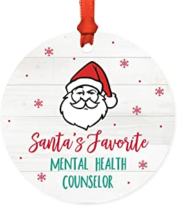 Andaz Press Santa Claus Round Metal Christmas Ornament Gag Gift, Santa's Favorite Mental Health Counselor, 1-Pack, X-Mas White Elephant Gift Ideas Coworker Him Her, Includes Ribbon and Gift Bat