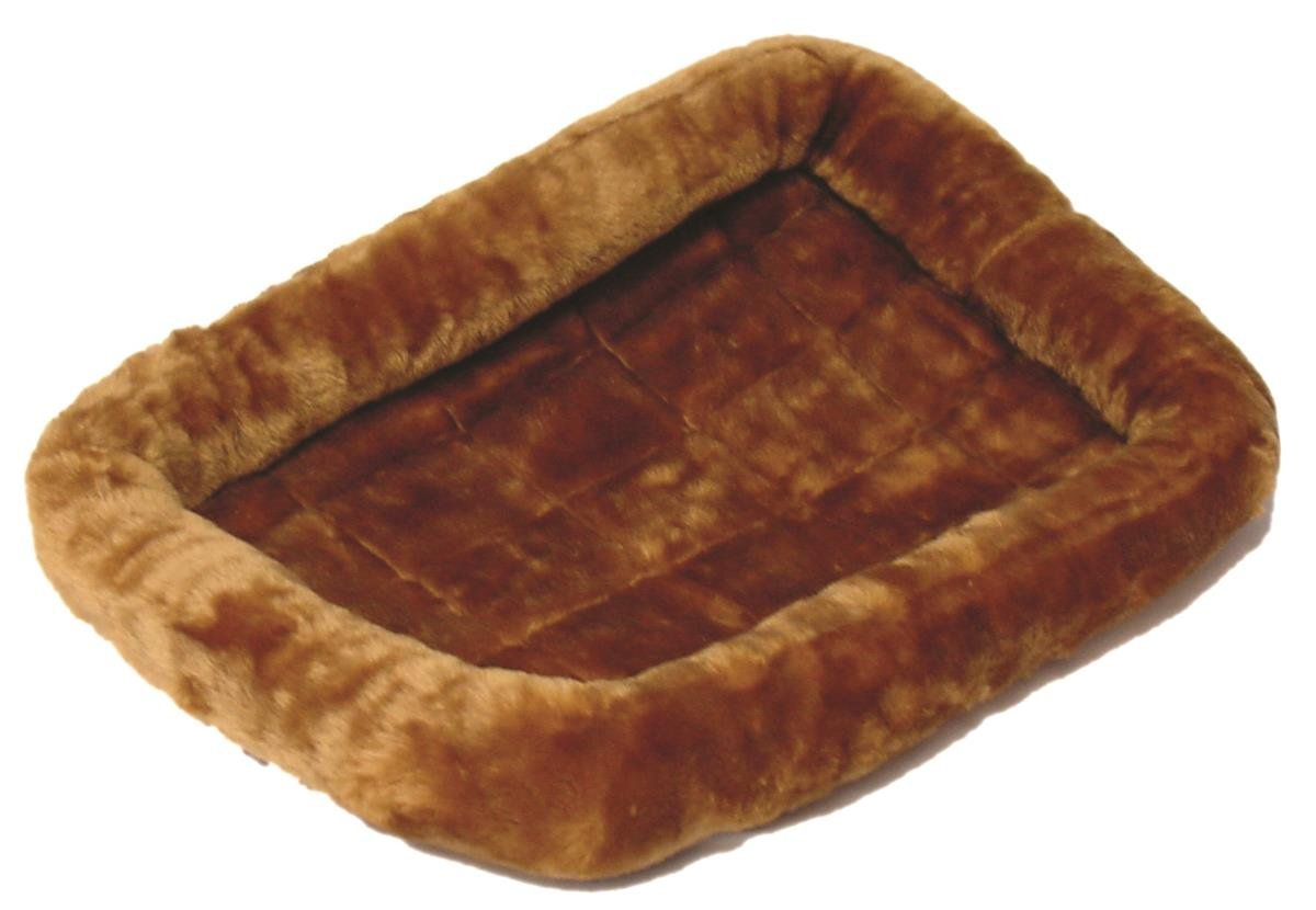 MidWest Deluxe Bolster Pet Bed for Dogs & Cats Cinnamon Plush 24-Inch