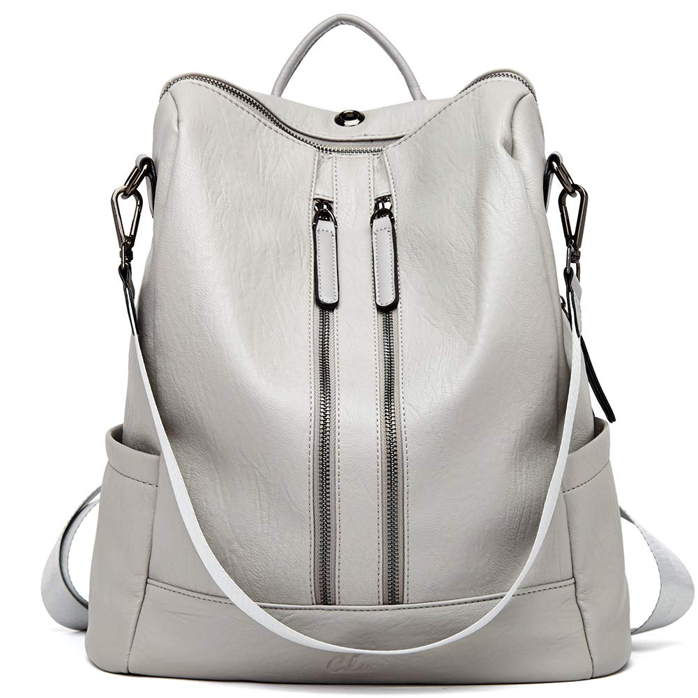 Women Backpack Purse Leather Fashion Travel Casual Detachable Ladies Shoulder Bag Gray by CLUCI