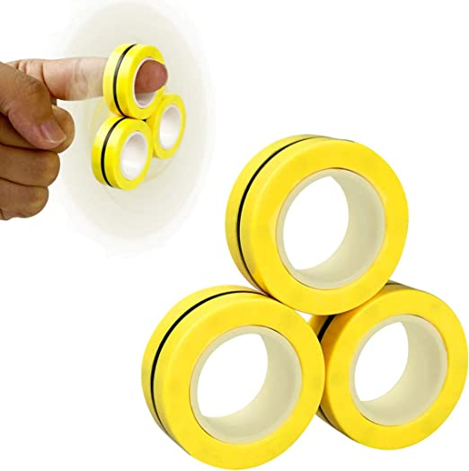 Anditoy Magnetic Rings Finger Fidget Toys Magical Ring Magnet Toys for Autism ADHD Man Woman Teens Kids Boys Girls Anxiety Stress Relief Stocking Stuffers (Yellow)