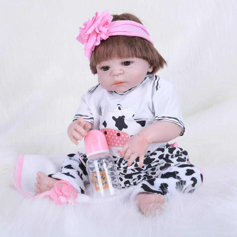 Hongge Reborn Baby Doll,Volle Silikon Vinyl Reborn Babypuppe realistische weiblichen Babys Puppen lebensecht Prinzessin Kids Toy Kinder Geburtstagsgeschenk 55CM