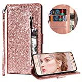 Luxury Glitter Bling Zipper Wallet Phone Case for Samsung Galaxy S7 Edge, MOIKY Bookstyle PU Leather Flip Folio Magnetic Purse Pockets Credit Card Holder Wrist Strap Case Cover for Samsung Galaxy S7 Edge - Rose Gold