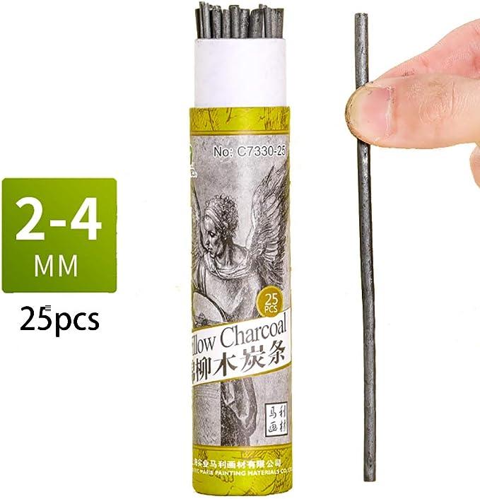 Bastones de carbón de algodón, lápices de carbón de sauce de algodón para dibujar, paquete de 25 (2 – 4 mm de diámetro): Amazon.es: Juguetes y juegos