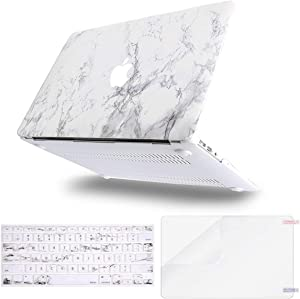 MOSISO MacBook Air 11 inch Case (Models: A1370 & A1465), Plastic Pattern Hard Shell Case & Keyboard Cover & Screen Protector Compatible with MacBook Air 11 inch, White Marble