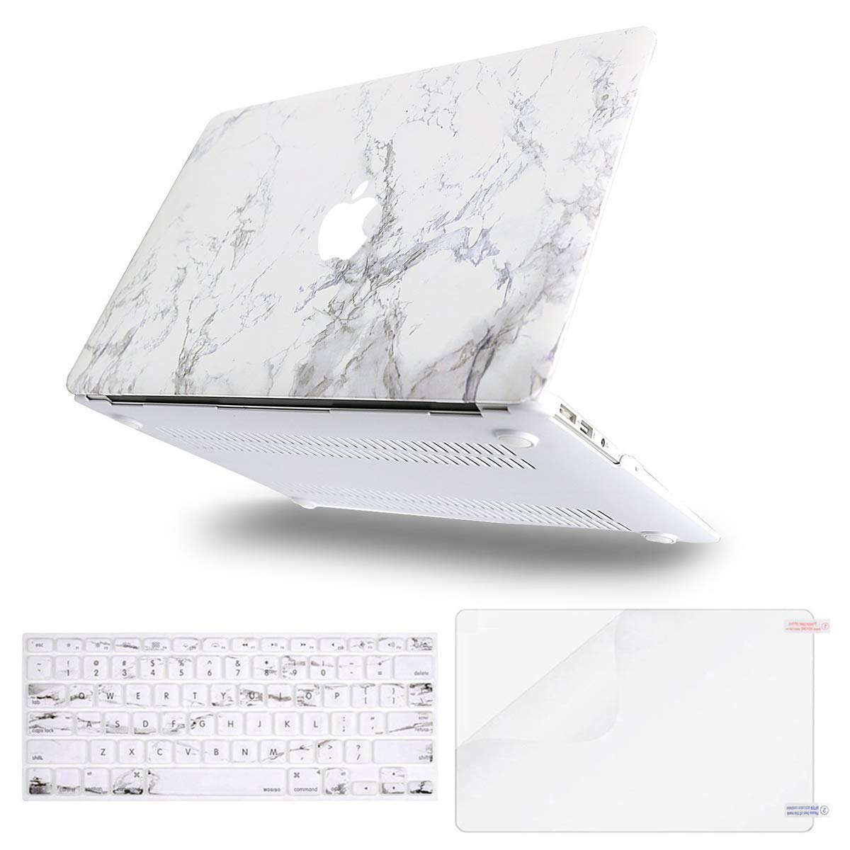 MOSISO Plastic Pattern Hard Shell Case & Keyboard Cover & Screen Protector Compatible with MacBook Air 11 inch (Models: A1370 & A1465), White Marble by MOSISO