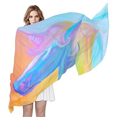 COOSUN Portrait arc en ciel de soie écharpe magique Unicorn légère longue  écharpe pour les femmes 04ffba338ec