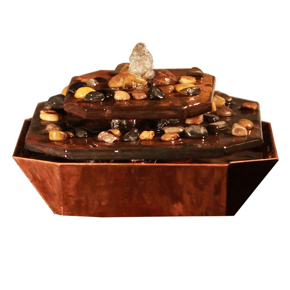 Sunnydaze Copper & Slate Rock Tiered Tabletop Fountain