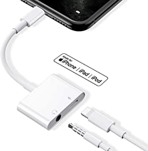 Headphone Adapter for iPhone 11 Dongle Charger 3.5mm Jack AUX Audio Splitter for iPhone 11/X/XS/Max/XR 7/8/8 Plus Accessory Dongle Headset Cable Convertor Support All iOS Systems-White