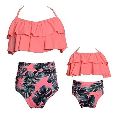 2 Piezas Bikini Conjuntos de Cintura Alta con Volantes de la impresión de la Flor Trajes de baño Ropa de la Familia Madre Trajes de la Hija: Ropa y accesorios