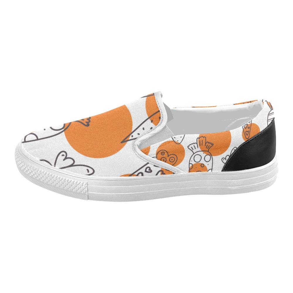 Canvas Shoes for Kids Carrot Pattern Easter Linear Carrots Canvas Slip-on Casual Printing Comfortable Low Top Canvas Shoes Youth