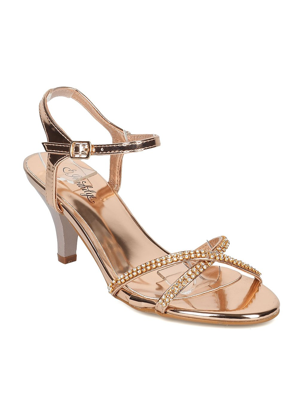 Indulge GAGA Women Metallic Leatherette Rhinestone Ankle Strap Kitten Heel Sandal HB95 - Rose Gold Metallic (Size: 6.5)