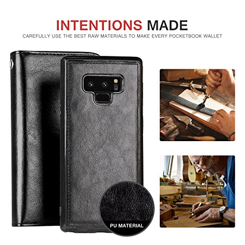 Galaxy Note 9 Case, Pasonomi Note 9 Wallet Case with Detachable SlimCase - [Folio Style] PU Leather Wallet case with ID&Card Holder Slot Wrist Strap for Samsung Galaxy Note 9 (Black) by PASONOMI (Image #1)