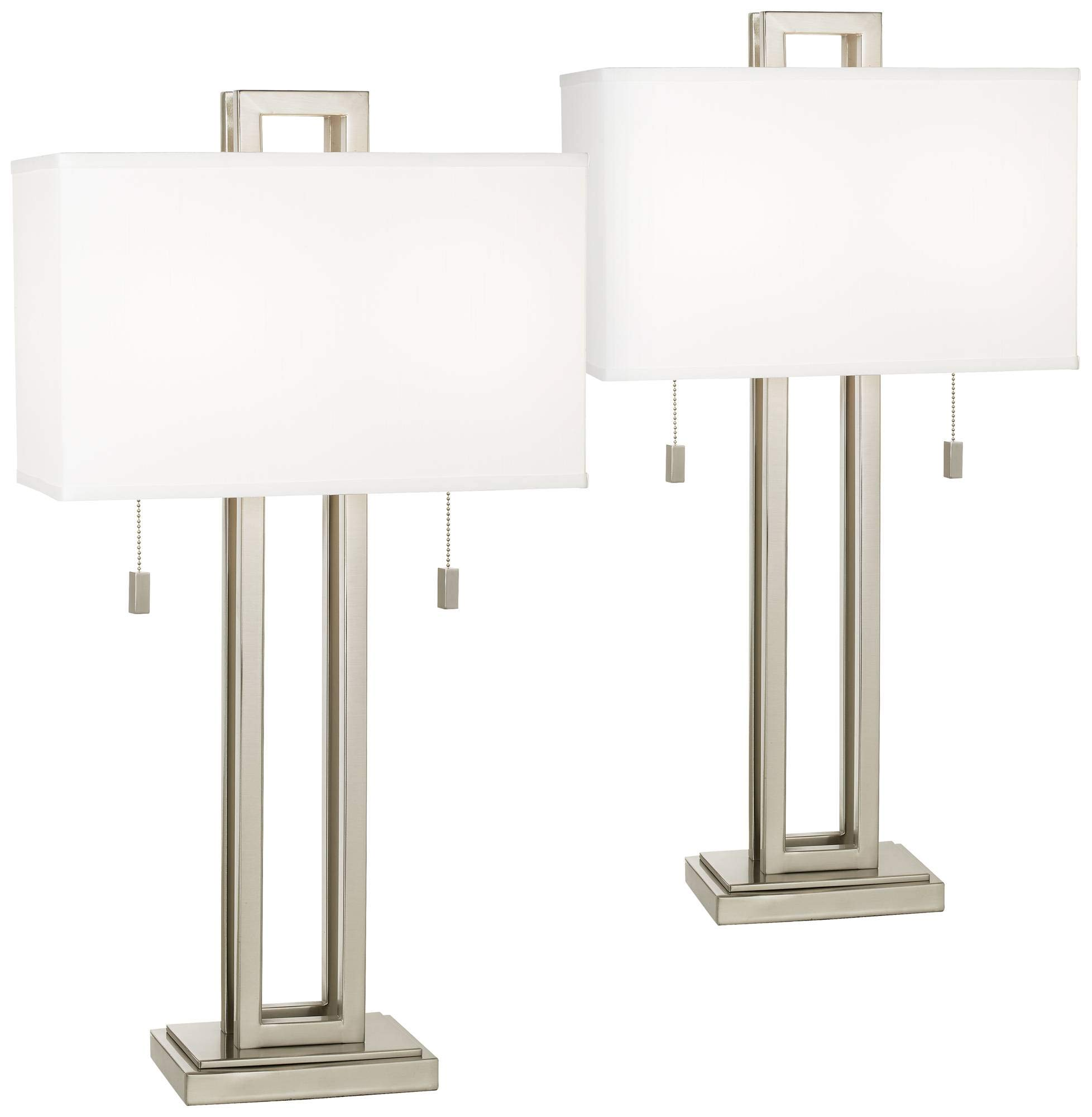 Gossard Modern Table Lamps Set of 2 Brushed Nickel Open Rectangular White Box Shade for Living Room Family Bedroom - Possini Euro Design