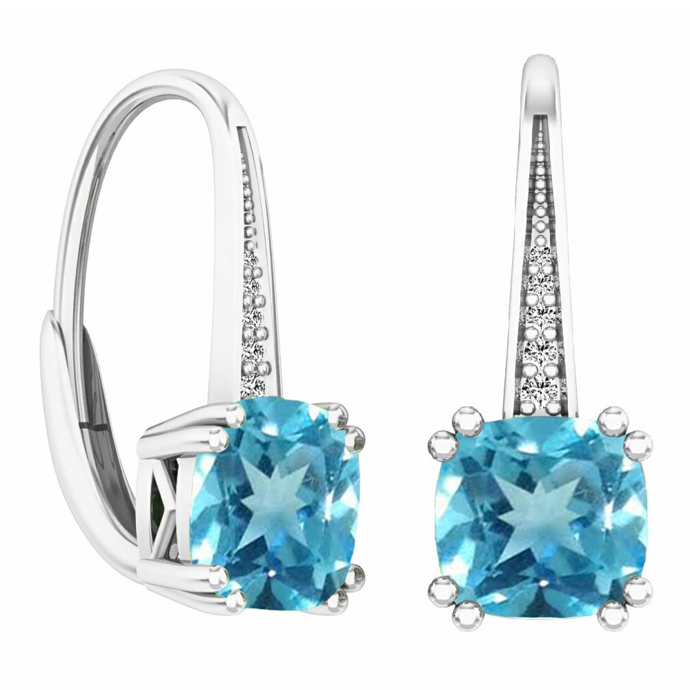 14K White Gold Cushion Cut Blue Topaz & Round Cut White Diamond Ladies Dangling Drop Earrings
