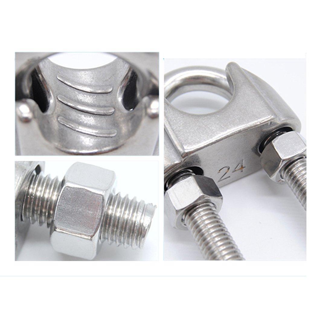 10pcs of M6 Wire Rope Clips 10 abrazaderas M6 de cuerda de alambre para abrazaderas de acero inoxidable 304 M2//M3//M4//M5//M6//M8//M10//M12 disponibles M2 10