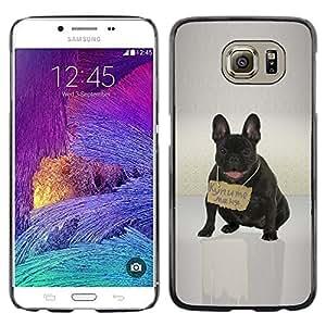 A-type Arte & diseño plástico duro Fundas Cover Cubre Hard Case Cover para Samsung Galaxy S6 (Lindo Bulldd Francés - Mensaje de Rusia)