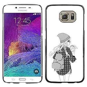 Paccase / SLIM PC / Aliminium Casa Carcasa Funda Case Cover - Hipster Girl Fashion School Black White - Samsung Galaxy S6 SM-G920