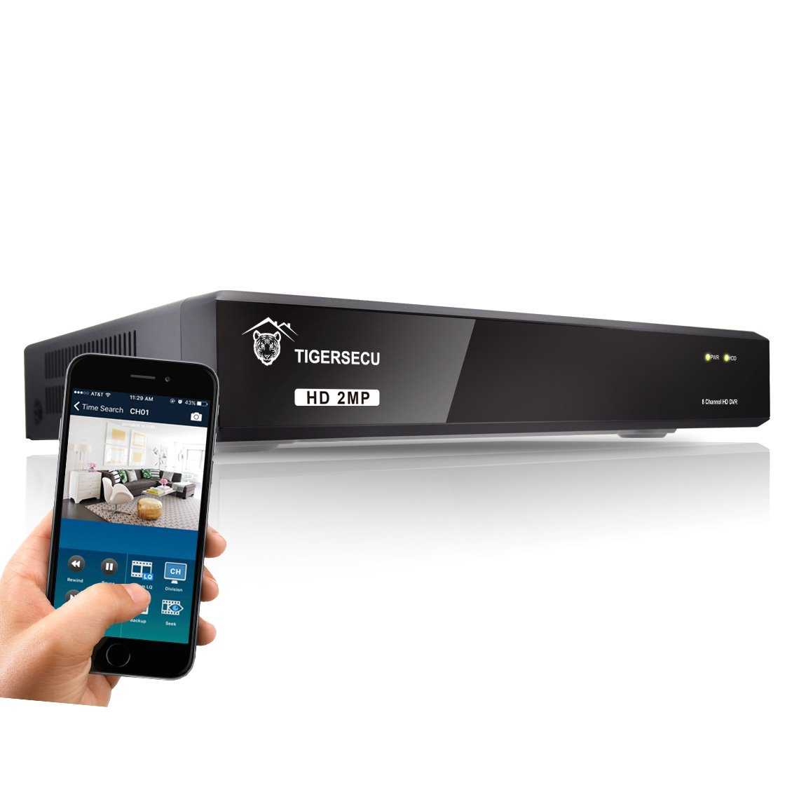 TIGERSECU Super HD 1080P 8-Channel DVR Video Security Recording System (Cameras and Hard Drive Not Included)