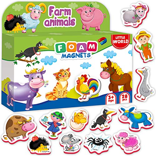 Fridge Magnets for Toddlers FARM Animals (28 pcs) - Refrigerator Magnets for kids - Kids magnets - Toddler magnets - Kid Magnets - Animal Magnets - Baby Magnets - Magnetic Toys Animals for Girls Boys