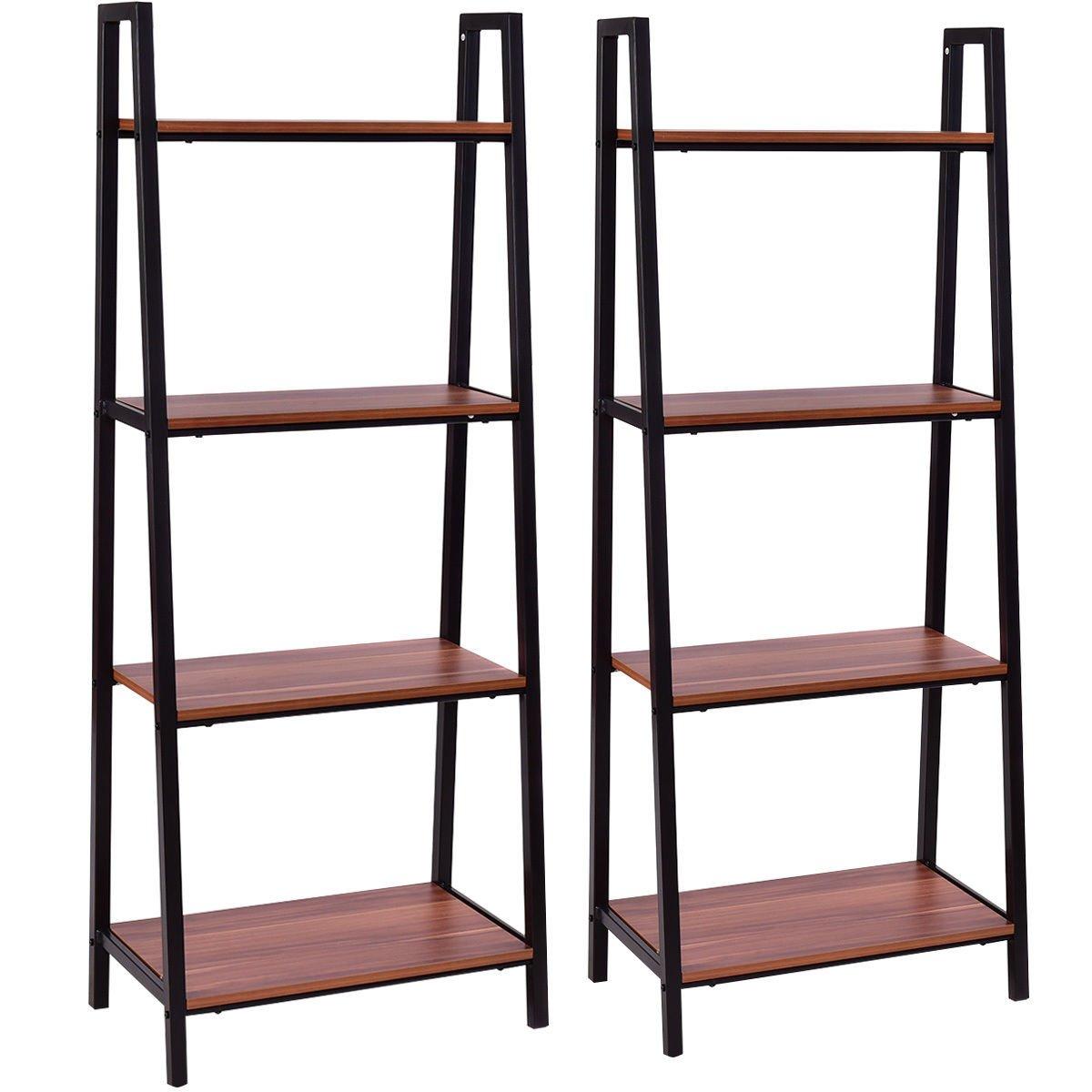 Tangkula 4-Tier Ladder Shelf Ladder Bookcase Indoor Outdoor Wood Bookshelf Display Shelves Plant Flower Stand Shelf (2)