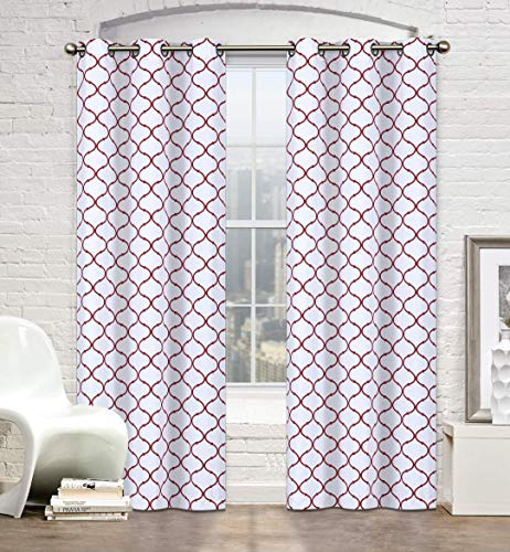 - Regal Home Collections 2 Pack Premium Trellis Grommet Curtain Panels - Assorted Colors (Red)