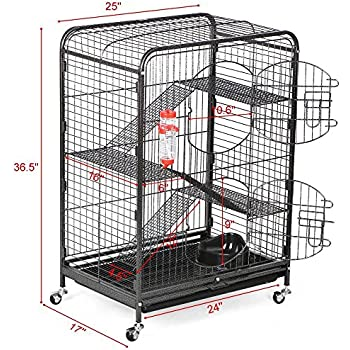 Yaheetech 37'' Metal Ferret Cage Indoor Small Animals Hutch w/ Feeder and Wheels Black