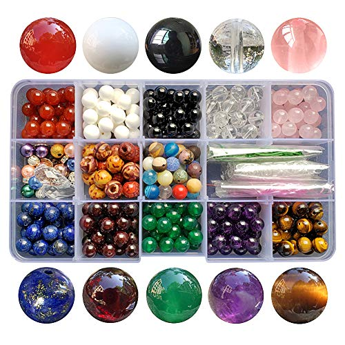 Chengmu 8mm Stone Beads Kit for Jewelry Making 230pcs Natural Gemstone Amethyst lapis Agate Onyx Crystal Tiger Eye Assorted Color Round Loose Beads Set for Bracelet Necklace With Accessories Color 1 N