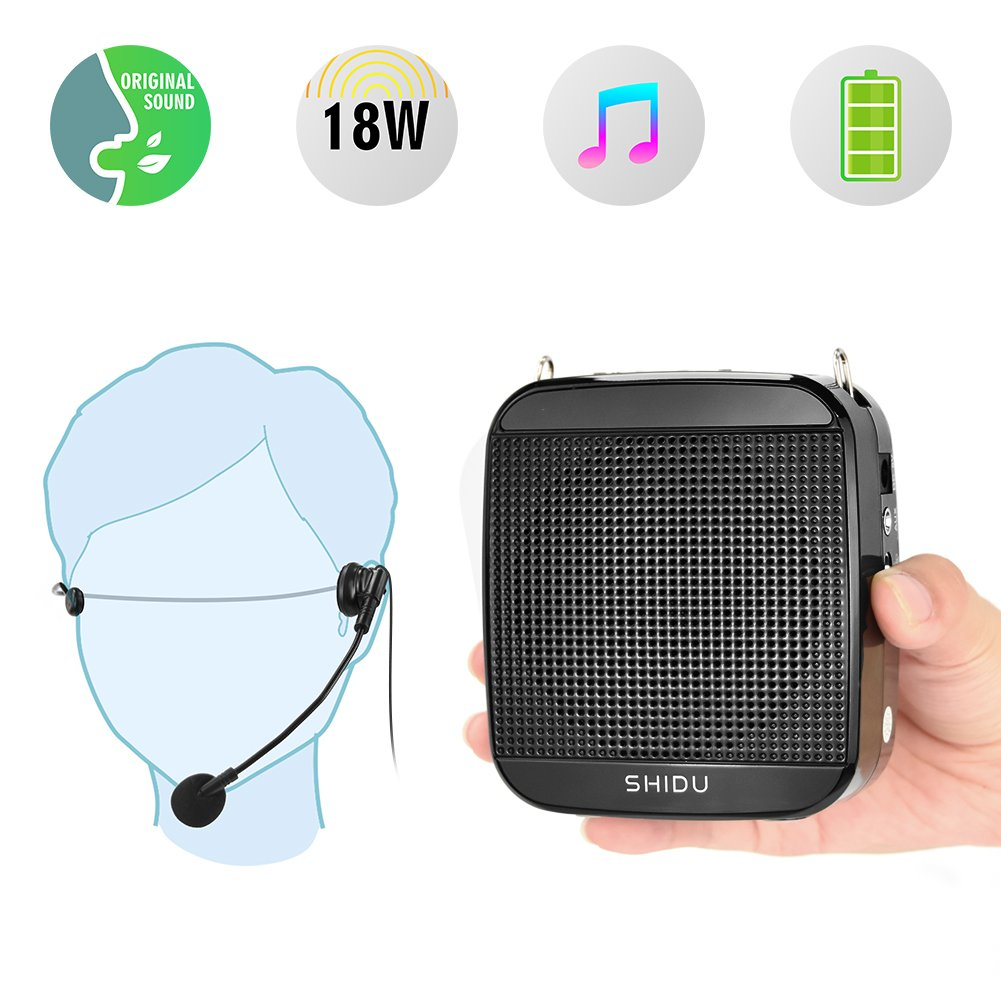 Portable Voice Amplifier SHIDU 18W S512 Personal Wired Microphone Headset and Speaker Mini Waistband Pa System for Teachers Coaches Elderly Singing Classroom Tours Fitness Instructors Kids by SHIDO