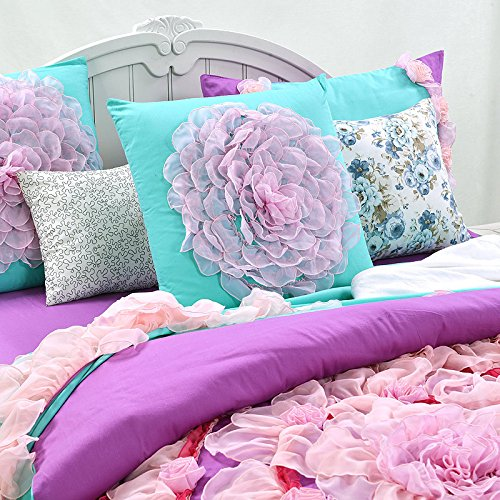 Auvoau Lance Edging Flowers Blue Purple Princess Girls Duvet Cover Bedding Sets (Full, Fitted Sheet)