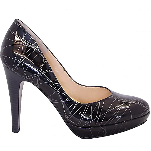 a102f3c68f50d Peter Kaiser Nixe high heel court shoes in black and silver patent ...