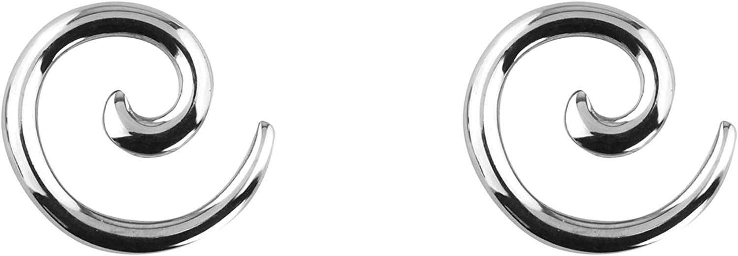 Forbidden Body Jewelry Pair of 0G-12G Surgical Steel Solid Spiral Taper Earrings