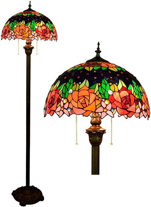 MTCTK Rosa Flor lámpara de pie Estilo Tiffany 2 Luces vidrieras ...