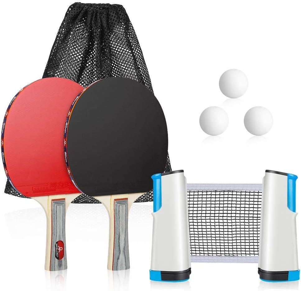 Laelr Juego de Tenis de Mesa Juego de Mesa de Ping Pong portátil con Red retráctil de Tenis de Mesa, 2 Palos/Raquetas y 3 Pelotas, Kit de Ping Pong Premium para mesas de Cualquier tamaño