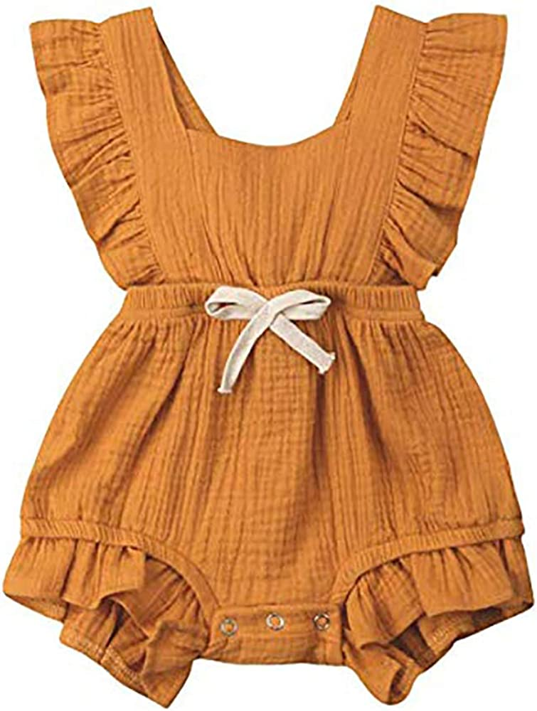 Xuuly Toddler Baby Girls Clothes Ruffle Sleeveless Summer Breathable Princess One-Piece Skirt Dress Set