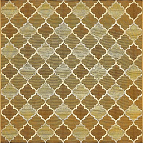 Unique Loom Outdoor Trellis Collection Moroccan Lattice Transitional Indoor and Outdoor Flatweave Gold  Square Rug (6' 0 x 6' 0)