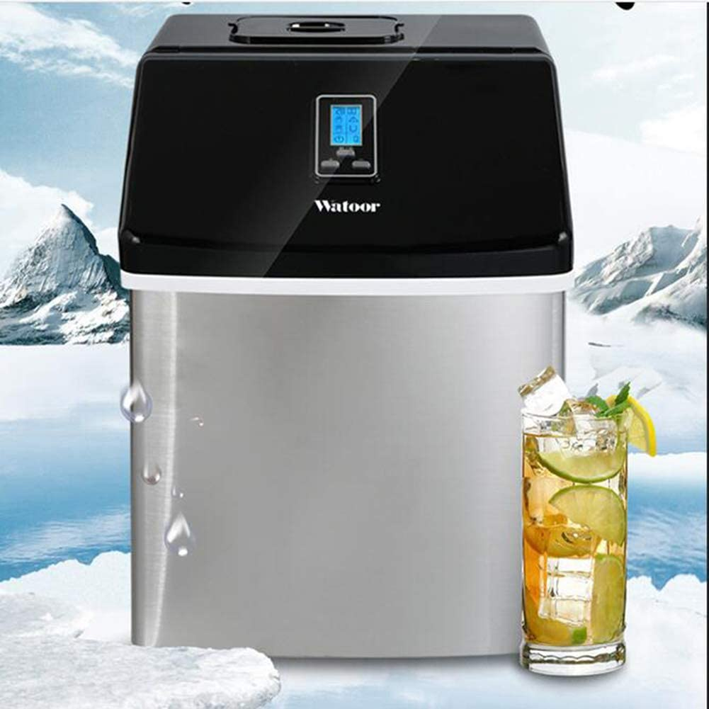 TOPYL Commercial Ice Machine for Countertop,Portable Ice Maker,Electric Ice Machine for Home Camp Party,Ice Cubes Ready in 8 Minutes Black 11x15x14inch