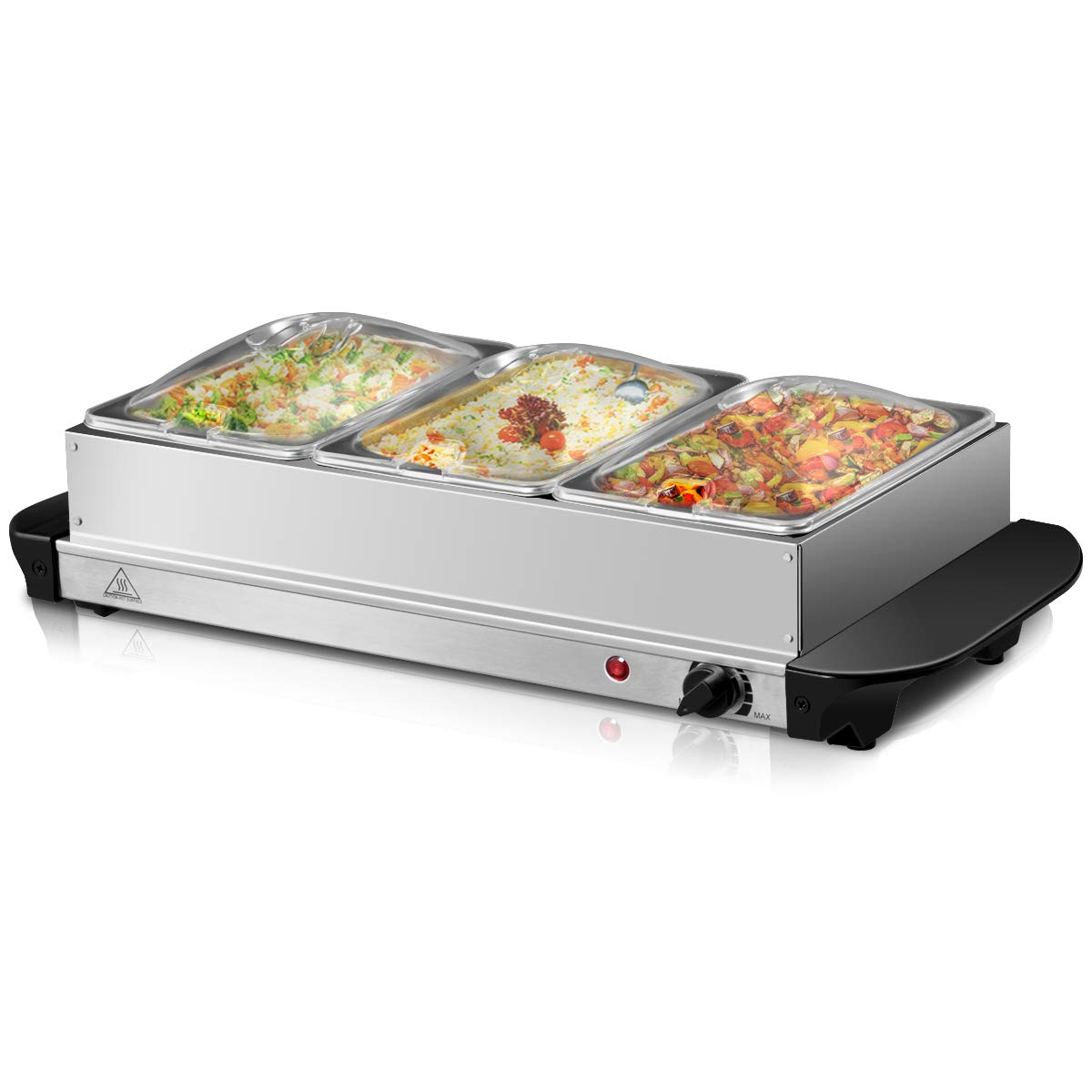 Giantex 3 Tray Buffet Server Stainless Steel Hot Plate Food Warmer Chafing Dish Tabletop (2.5 Quart) by Giantex