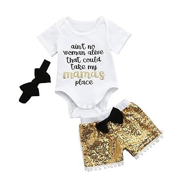 885c4a8ddaa1 Efaster Infant Baby Girls Letter Print Romper+Sequin Bow Shorts+Headband  Set (0