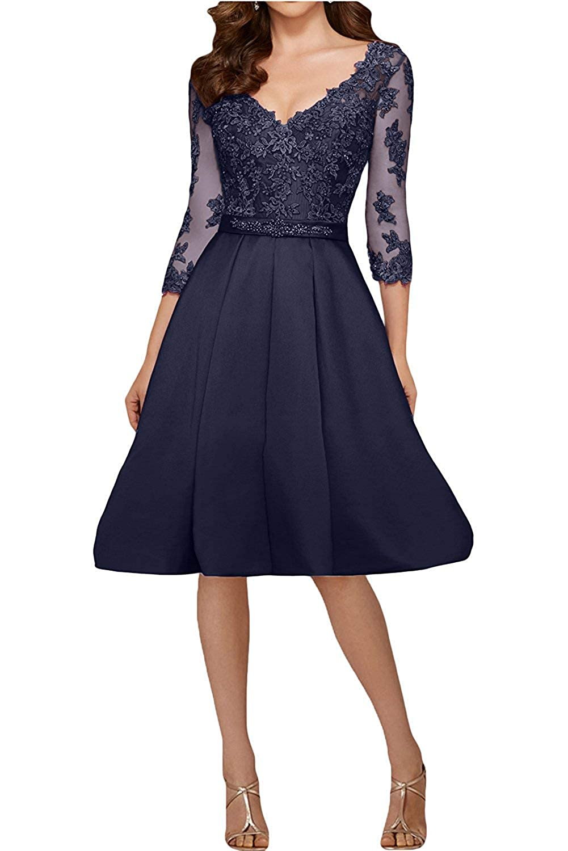 Navy ZLQQ Vintage Satin Applique Short Bridesmaid Dresses Half Sleeves Formal Evening Wedding Gown