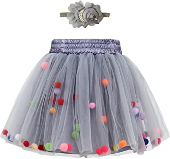 Zcaynger Infant Baby Girls Tutu Skirt 4 Layers Soft Tulle Puff Ball Dress for Toddler Girls with Headband