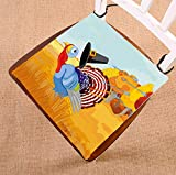 Custom Cute Cartoon Turkey Escapes from the Arrows and Loses Happy Thanksgiving Seat Cushion Chair Cushion Floor Cushion Twin Sides 20x20 inches