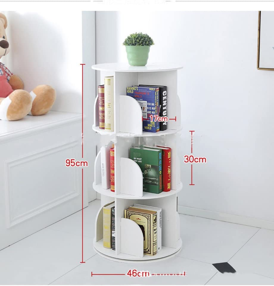 JX BOOS Bookshelf,Creative 360 Rotating Bookcase Simple disassembly Bookshelves Simple Student Landing Rack -White 46x46x95cm 18x18x37