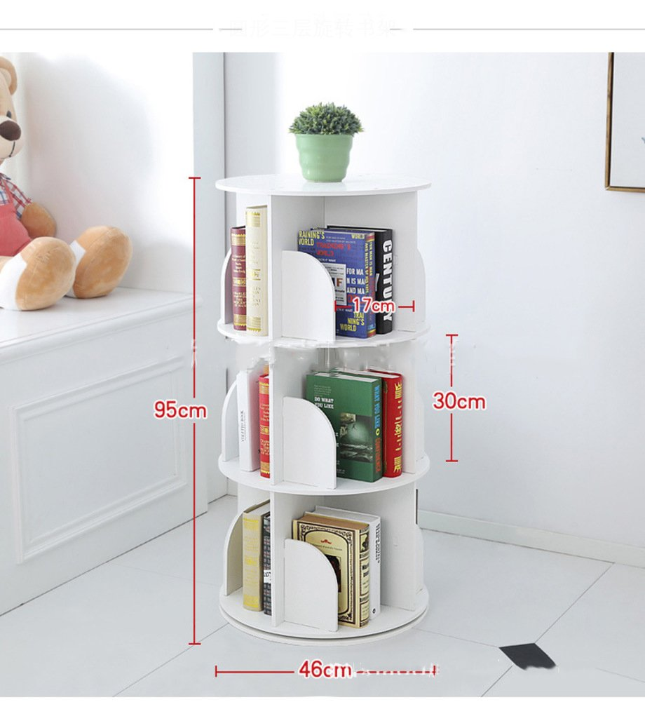 JX BOOS Bookshelf,Creative 360 Rotating Bookcase Simple disassembly Bookshelves Simple Student Landing Rack -White 46x46x95cm 18x18x37